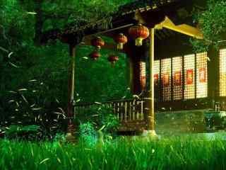 夏日萤火虫唯美风景桌面壁纸