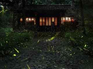 夏日晚间萤火虫风景桌面壁纸