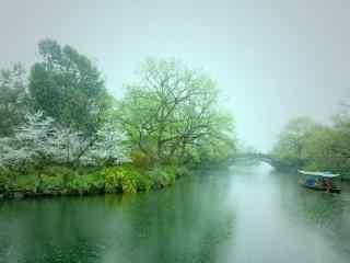 烟雨江南春日风景图片壁纸