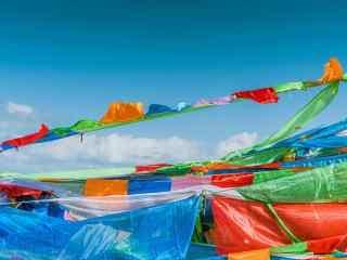 青海湖唯美旗帜桌