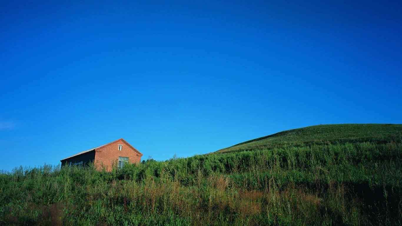 山中的小木屋护眼风景壁纸