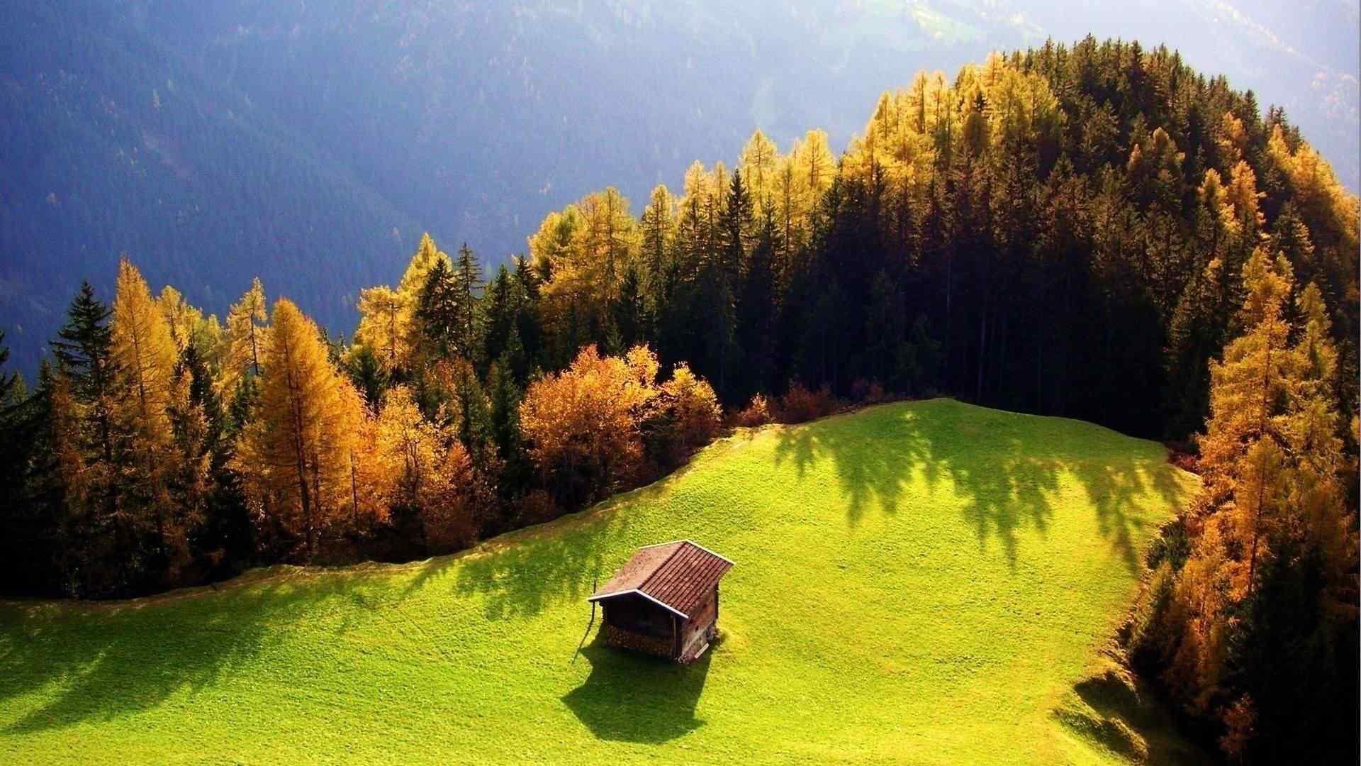 唯美的秋日小木屋风景壁纸