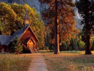 秋日唯美的小木屋风景壁纸