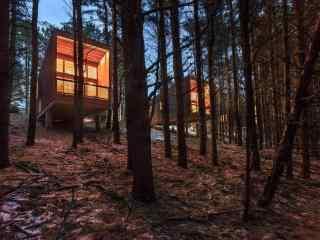 温暖的山林中的小木屋风景壁纸