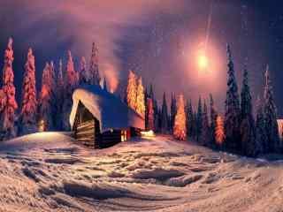 唯美的雪地小木屋风景壁纸