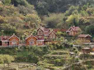 山林深处的小木屋风景壁纸