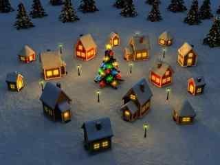 可爱的雪地小木屋风景壁纸