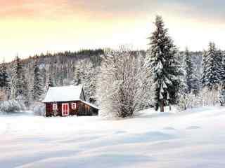 雪地中小木屋风景壁纸