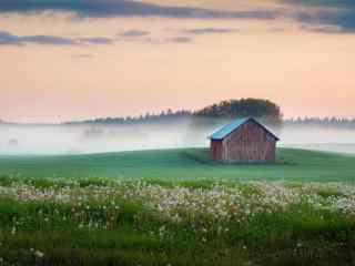 唯美的小木屋风景壁纸