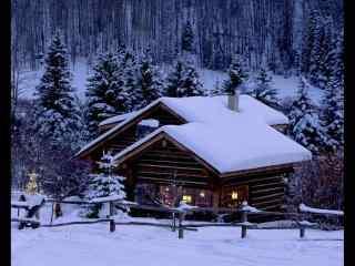 冬日山林中小木屋风景壁纸