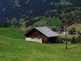 草原上的小木屋风景桌面壁纸