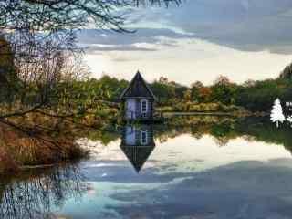 河边上的小木屋风景桌面壁纸