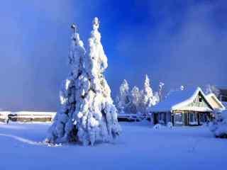 雪中小木屋风景壁纸