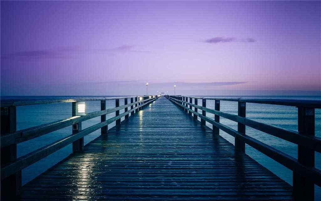 唯美码头夜景桌面壁纸