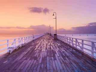 朦胧唯美的码头风景壁纸