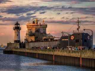 繁华的码头风景壁纸