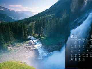 2017年8月日历秀丽的山河风景壁纸
