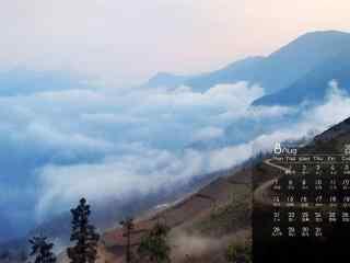 2017年8月日历云蒸霞蔚的风景壁纸