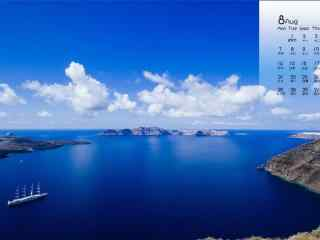 2017年8月日历蓝色海边风景壁纸