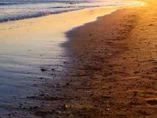 夏日青岛黄昏沙滩风景壁纸