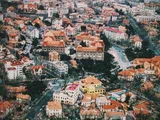 美丽的青岛城市风景俯视图