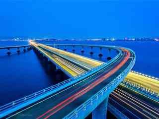 美丽的青岛城市夜景桌面壁纸