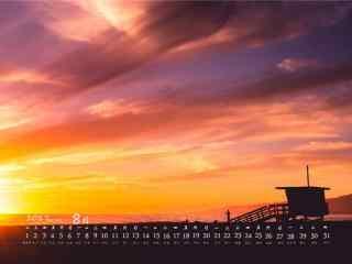 2017年8月日历唯美的黄昏风景桌面壁纸