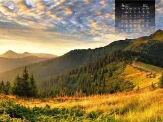 2017年8月日历唯美草原风景壁纸