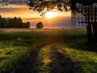 2017年8月日历唯美的黄昏风景壁纸