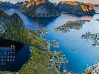 2017年8月日历美丽的海岛风景壁纸