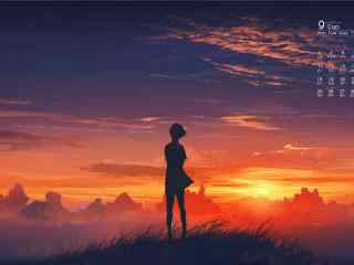 2017年9月日历唯美的日落风景壁纸