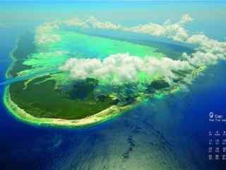 2017年9月日历秀美的海岛风景壁纸