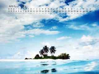 2017年9月日历美丽的蓝色海岛风景壁纸