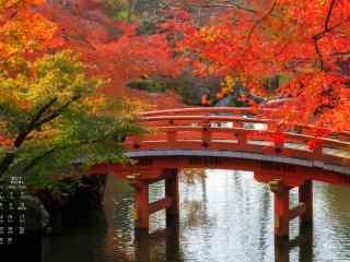 2017年9月日历唯美的秋日风景桌面壁纸
