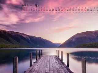 2017年9月日历夕阳下的码头风景壁纸