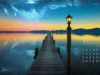 2017年9月日历码头唯美夜景桌面壁纸