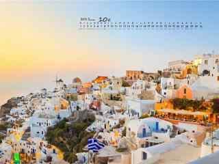 2017年10月日历美丽的城市风景壁纸