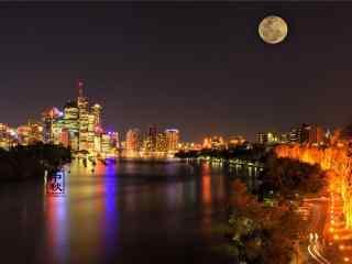 中秋节之城市的满月风景壁纸