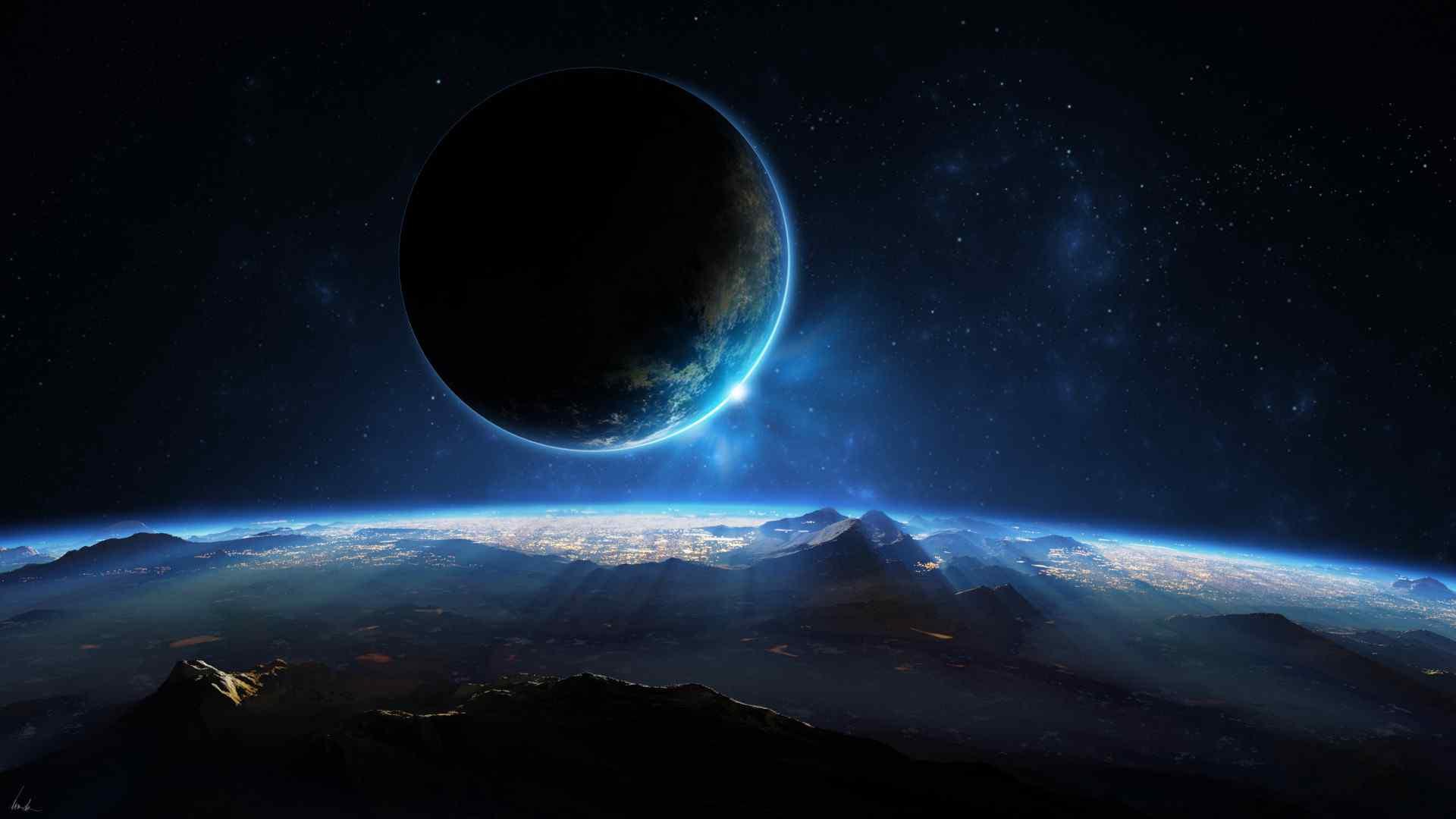 星空月球光桌面壁纸