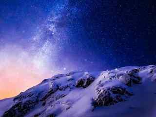 星空壁纸雪山夜晚美丽星空2k风景壁纸