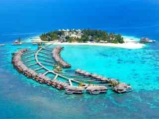 马尔代夫奇妙的度假村航拍高清壁纸