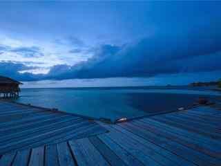 夜晚的马尔代夫唯美风景壁纸