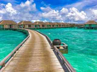 马尔代夫海上度假小屋高清壁纸