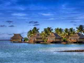 旅游天堂马尔代夫唯美度假小屋风景高清壁纸