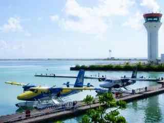 马尔代夫刺激的水上飞机项目高清壁纸图片