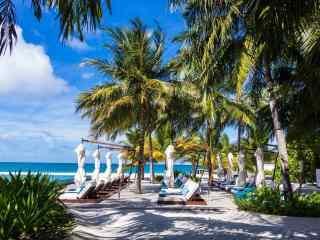 马尔代夫蓝色海岛城市风景高清壁纸
