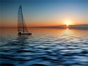 海上帆船与落日自然风景高清壁纸