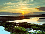 唯美日出山川湖泊自然风景高清壁纸