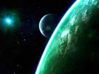 墨绿唯美天空星球壁纸