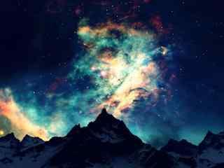 山峰与星空结合桌面壁纸
